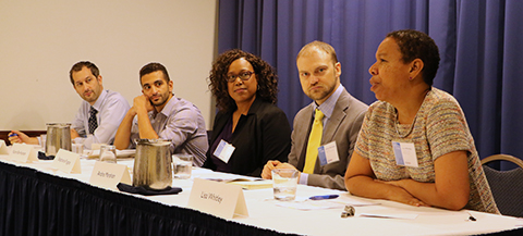 Photo of panel, including David Jacobstein, Karim bin-Humam, Stephanie Fugate, Andre Mershon, and panel moderator Lisa Whitley