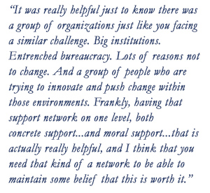 """It was really helpful just to know there was a group of organizations just like you facing a similar challenge. Big institutions. Entrenched bureaucracy. Lots of reasons not to change. And a group of people who are trying to innovate and push change within those environments.  Frankly, having that support network on one level, both concrete support....and moral support....that is actually really helpful, and I think that you need that kind of a network to be able to maintain some belief that this is worth it."""