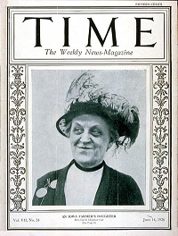 "Cover of Time Magazine, June 14, 1926 featuring Carrie Chapman Catt, and highlighting her simple roots as an ""Iowa Farmers Daughter."", http://content.time.com/time/covers/0,16641,19260614,00.html"