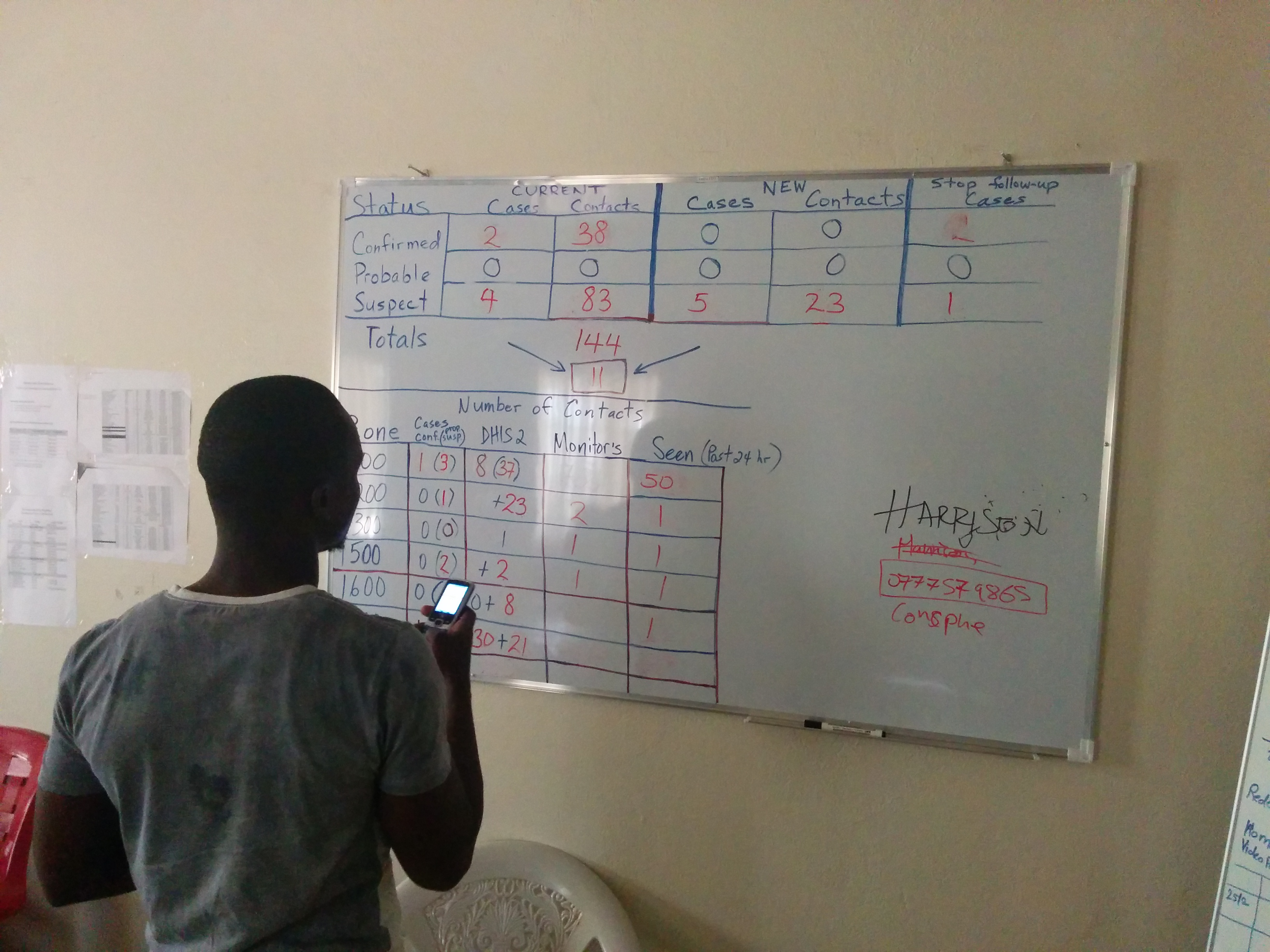 Vargo Degbe, from the Monrovia Ebola task force, tallies the day's case data