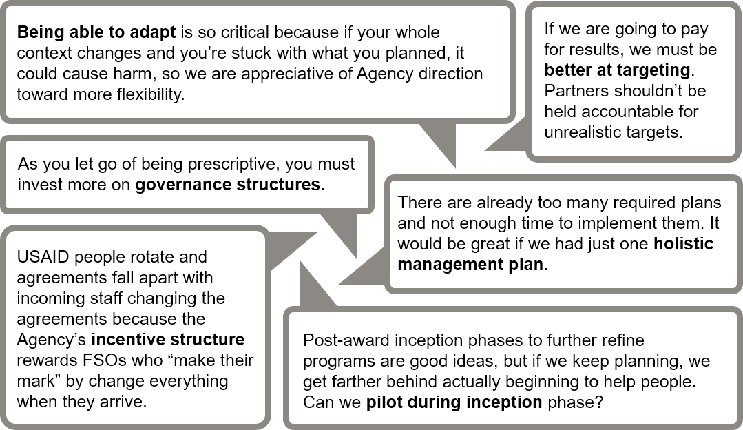 """Being able to adapt is so critical because if your whole context changes and you're stuck with what you planned, it could cause harm, so we are appreciative of Agency direction toward more flexibility."""