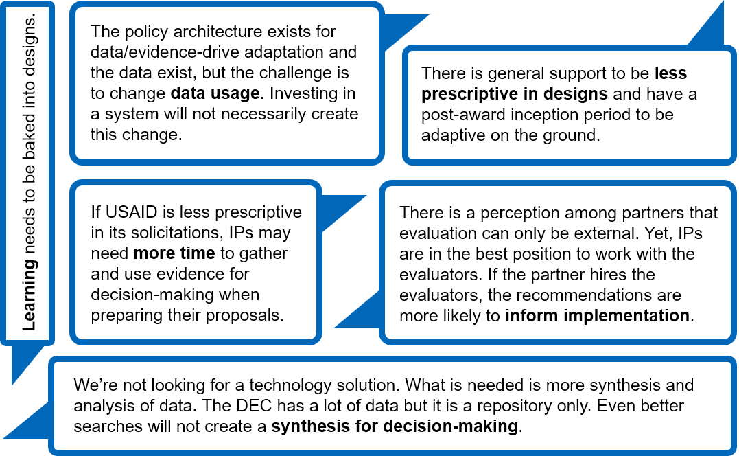 """The policy architecture exists for data/evidence-drive adaptation and the data exist, but the challenge is to change data usage. Investing in a system will not necessarily create this change."""