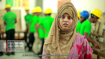 Ayesha Akhter, Electrical Instructor trained through the Suddokkho Training Centre, Bangladesh.  Credit: Suddokkho Programme (Screengrab: https://www.youtube.com/watch?v=yGHuIp7qRVQ)